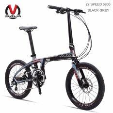 SAVA Folding Bike Carbon Fiber Frame 20 inch SHIMANO 22 Speed SHIMANO 105 5800 Group Set Mini Compact City Bike Disc Brake(22 SPEED 5800 BLACK GREY) - intl