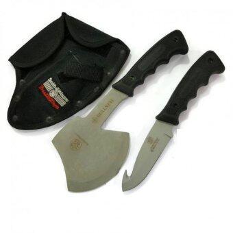 ประเทศไทย Smith Wesson SW Knives Bullseye Hatchet Knife Combo ขวาน+มีดเดินป่าแคมป์ปิ้ง พร้อมซองเก็บแบบร้อยเข็มขัด