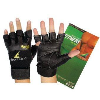 SportLand ถุงมือยกน้ำหนัก มีรัดข้อ (SL) ATF (Pro-Wrap) W/L (Black)
