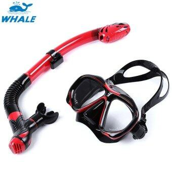 Sports Outdoors Diving Masks Whale Professional Diving Water Sports Training Silicone Mask Snorkel Glasses Set(Red With Black) - intl