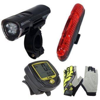 Sunding ไมล์แบบไร้สาย รุ่น SD-548C (สีเหลือง)+Raypal ชุดไฟจักรยาน 5 LED 1 สีดำ+ถุงมือแบบฟรีไซด์ ลายดอกไม้ - สีเหลือง