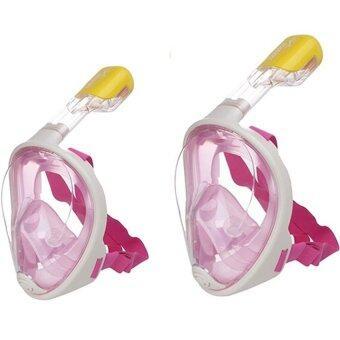 ประเทศไทย Super snorke หน้ากากดำน้ำ ไม่ต้องคาบท่อหายใจ รุ่น DP01 ( สีชมพู ) 2 ชิ้น ขนาด S/M และ L/XL