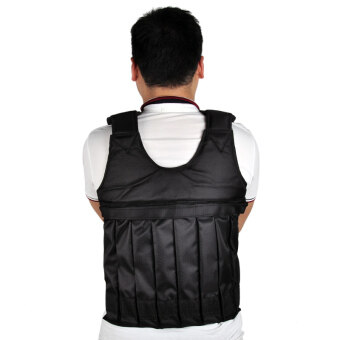 SUTENG 20kg Weighted Vest With Sholder Pads Comfortable WeightJacket Adjustable Sanda Exercise Boxing Sand Clothing (Empty) - 2