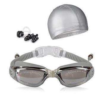 ราคา Swim Goggles + Swim Cap + Case + Nose Clip + Ear Plugs Swimming Goggles Waterproof Mirrored and Clear Anti Fog UV400 Protection Lenses for Adult Men Women Youth Kids - intl