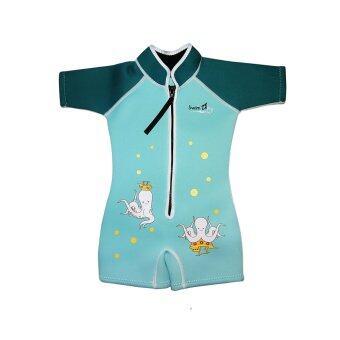 SwimFly Wetsuit for Kids ชุดว่ายน้ำกันหนาว ชุดว่ายน้ำรักษาอุณหภูมิ สำหรับเด็กลายปลาหมึก (สีเขียว)
