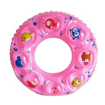 2561 ห่วงยางว่ายนำ้สำหรับเด็ก swimming rings patterns Double layer thickening life buoy PVC inflatable 90 cm (Pink )