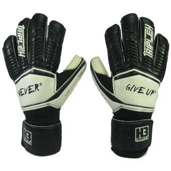 ถุงมือผู้รักษาประตู ถุงมือประตูนิ้วเหลี่ยม Training H3 Sport มี Finger Save ดำขาว เบอร์ 10