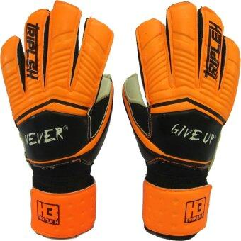 ถุงมือผู้รักษาประตู ถุงมือประตูนิ้วเหลี่ยม Training H3 Sport มี Finger Save ส้มดำ เบอร์ 10