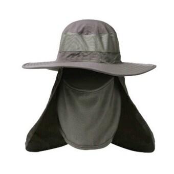 หมวกกันแดดป้องกัน UV ปีกรอบ พร้อมผ้าคลุมหน้า