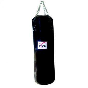 VIVAกระสอบทราย2ชั้นหนังPU40x100CM.(พร้อมอัดกระสอบ)-สีดำพร้อมโซ่แขวน
