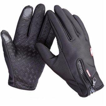 กีฬากลางแจ้งถุงมือหน้าจอสัมผัสลมหนาวกันน้ำถุงมือ WindproofWindstopper (สีดำ)