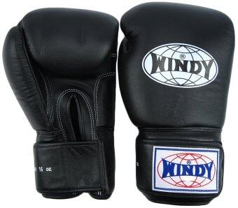 2561 Windy นวมมวยไทยวินดี้ สปอร์ต เมจิคเทป หนังแท้ สีดำ 12 ออน - Windy Sports Gloves BGVH Muay Thai Kickboxing Black - 12 oz