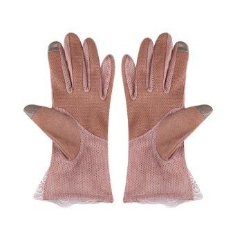 2561 Women Touch Screen Sun Block Short Lady Gloves Ice Silk Female Fashion - intl