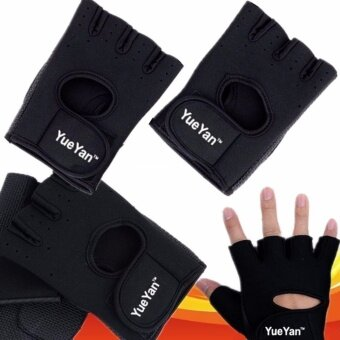 YUEYAN ถุงมือฟิตเนส ถุงมือออกกำลังกาย Fitness Glove Weight Lifting Gloves Black ( Int:S)