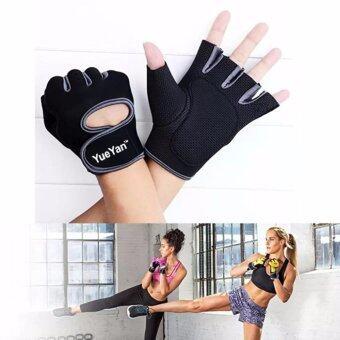 ประเทศไทย YUEYAN ถุงมือฟิตเนส ถุงมือออกกำลังกาย Fitness Glove Weight Lifting Gloves Gray ( Int:S)
