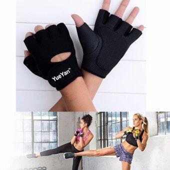 ราคา YUEYAN ถุงมือฟิตเนส ถุงมือออกกำลังกาย Fitness Glove Weight Lifting Gloves Black ( Int:S)