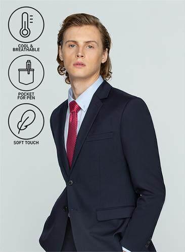 ส่วนลด GQWhite นครราชสีมา GQSize เสื้อสูท - GQ  Suit  Long Sleeve Single Breasted Wool Blend Fabric Solid  140-111320  Navy