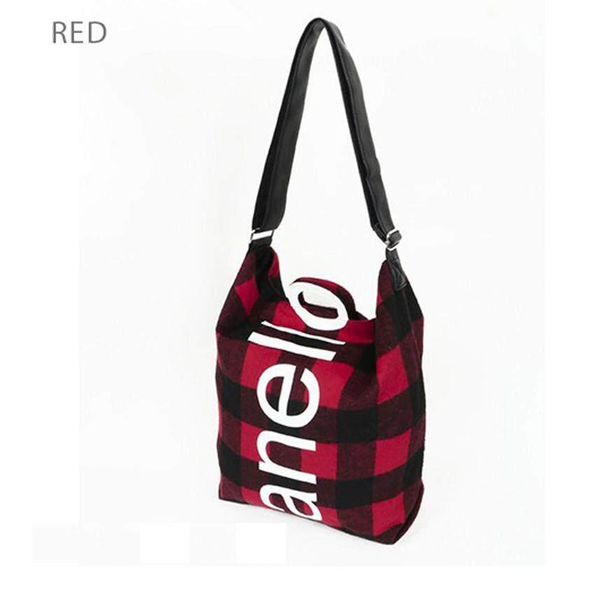 ยี่ห้อไหนดี  นครราชสีมา Anello O Handle Checker 2 Way Tote Bag Handbag กระเป๋าสะพายข้างขนาดใหญ่ รุ่น AI-S0066-Red (สีแดง)