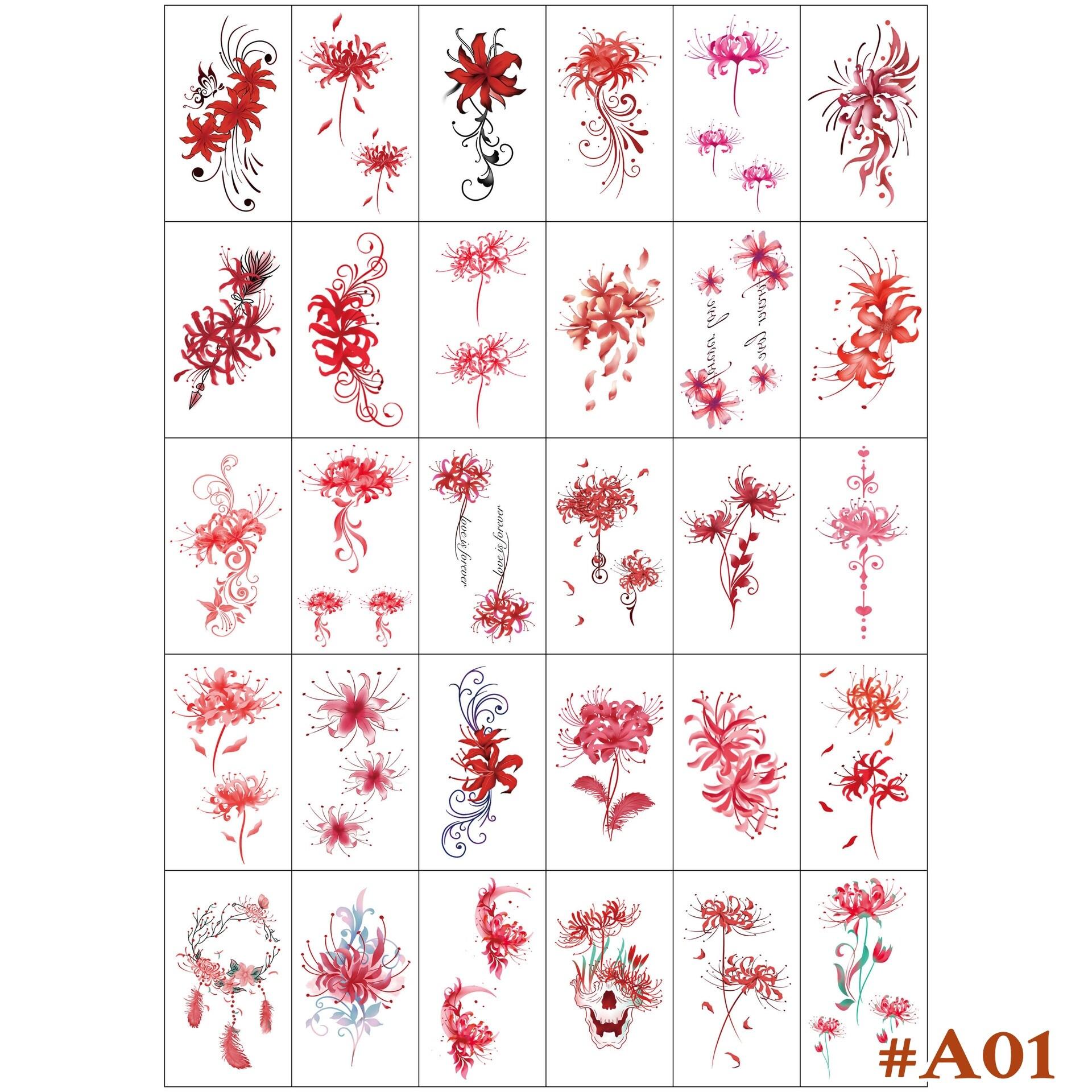 แทททูสติ๊กเกอร์ดอกไม้ สไตล์ซีรีส์จีน แทททู 1 ชุด ได้ 30 แผ่น 30 ลาย ลายสวย ติดทนนานสำหรับผู้หญิงและเด็ก พร้อมส่งในไทย/tattoo stickers/face sticker