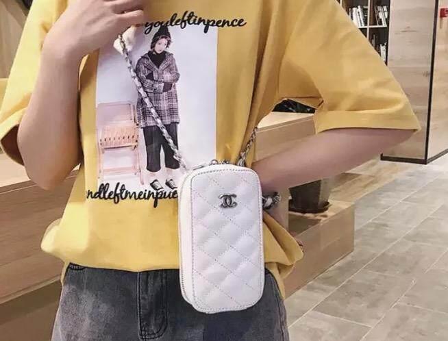 กระเป๋าเป้สะพายหลัง นักเรียน ผู้หญิง วัยรุ่น นครนายก Fashion Zipper Closure PU Leather Grain Pattern Square Messenger Bag Chain Strap Bag