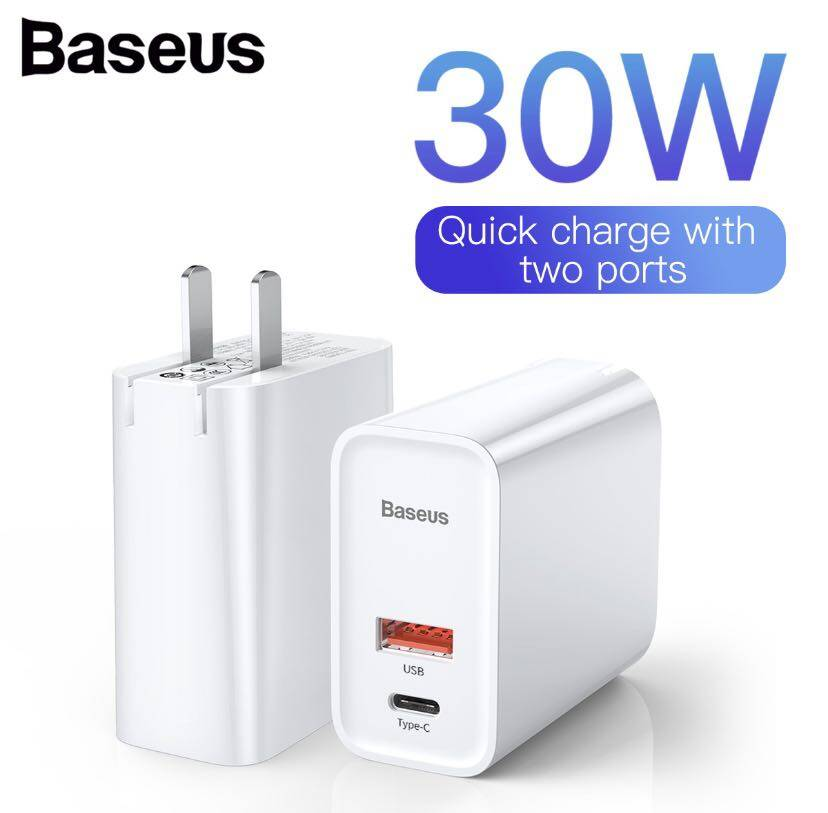 BASEUS หัวชาร์จเร็ว Adapter 2 port (QC3.0 + PD 30W + Supercharge) Quick Fast Charger