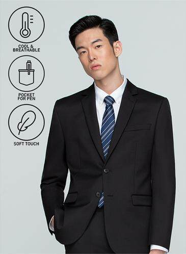 ส่วนลด GQWhite น่าน GQSize เสื้อสูท - GQ  Suit  Long Sleeve Single Breasted Wool Blend Fabric Solid  140-111320  Black