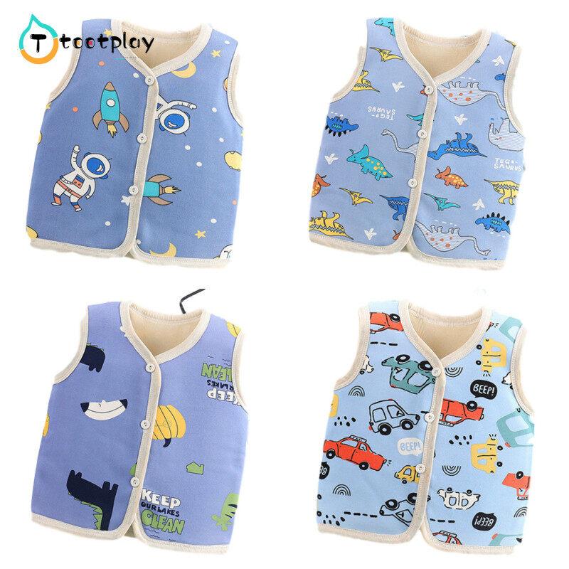 Tootplayเสื้อกั๊กเด็ก,เสื้อแขนกุดบุนวมลายการ์ตูนสำหรับเด็กอายุ1-5ปีใส่ในฤดูใบไม้ร่วงฤดูหนาว