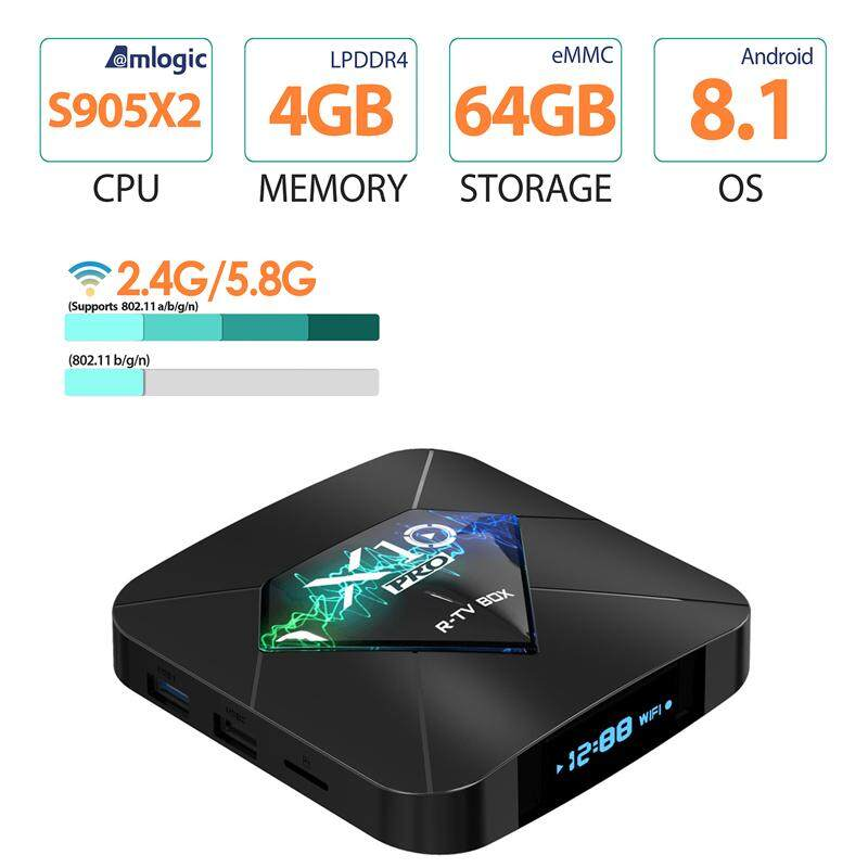 ปัตตานี 2019 New Android TV box 【X10 PRO S905X2】กล่องรับสัญญาณเครือข่ายทีวี network set-top box tv new TV box 4k Android 8.1 DDR4 4GB 64GB Amlogic S905X2 Quad Core 2 4G/5G Dual WIFI USB3.0 BT4.0 3D HDR 4K