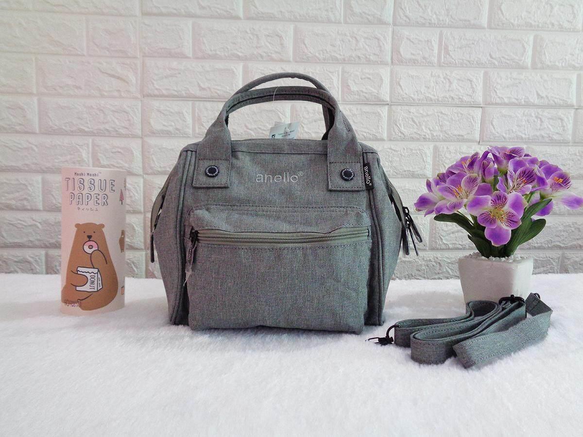 สินเชื่อบุคคลซิตี้  พะเยา กระเป๋า Anello รุ่น 2 WAY Polyester Mini Classic bag ของแท้ สีเทา