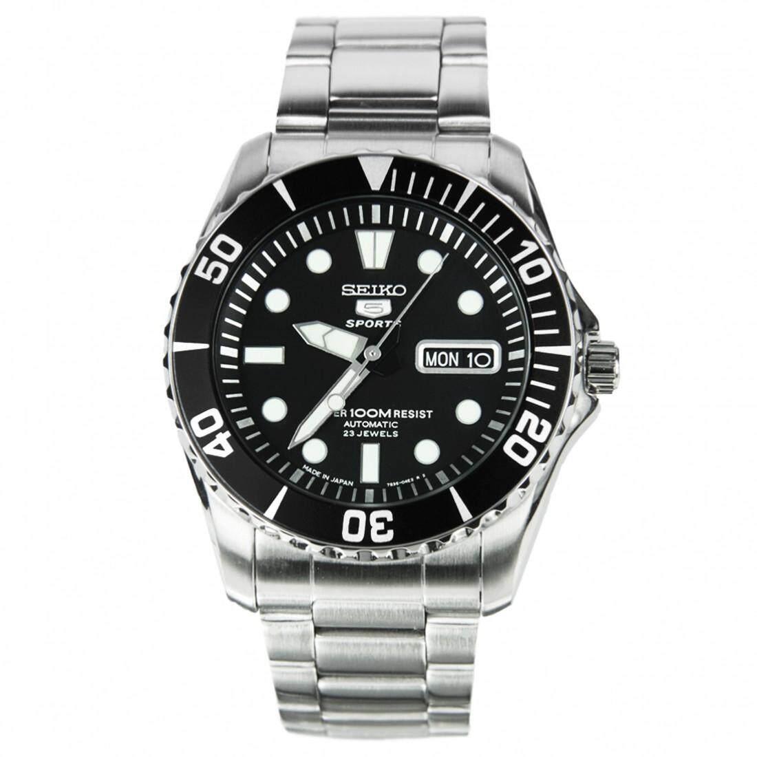 การใช้งาน  ระยอง Karnvera Shop Seiko  นาฬิกาข้อมือชาย SNZF17J1 5 Sports Automatic Stainless Steel Watch