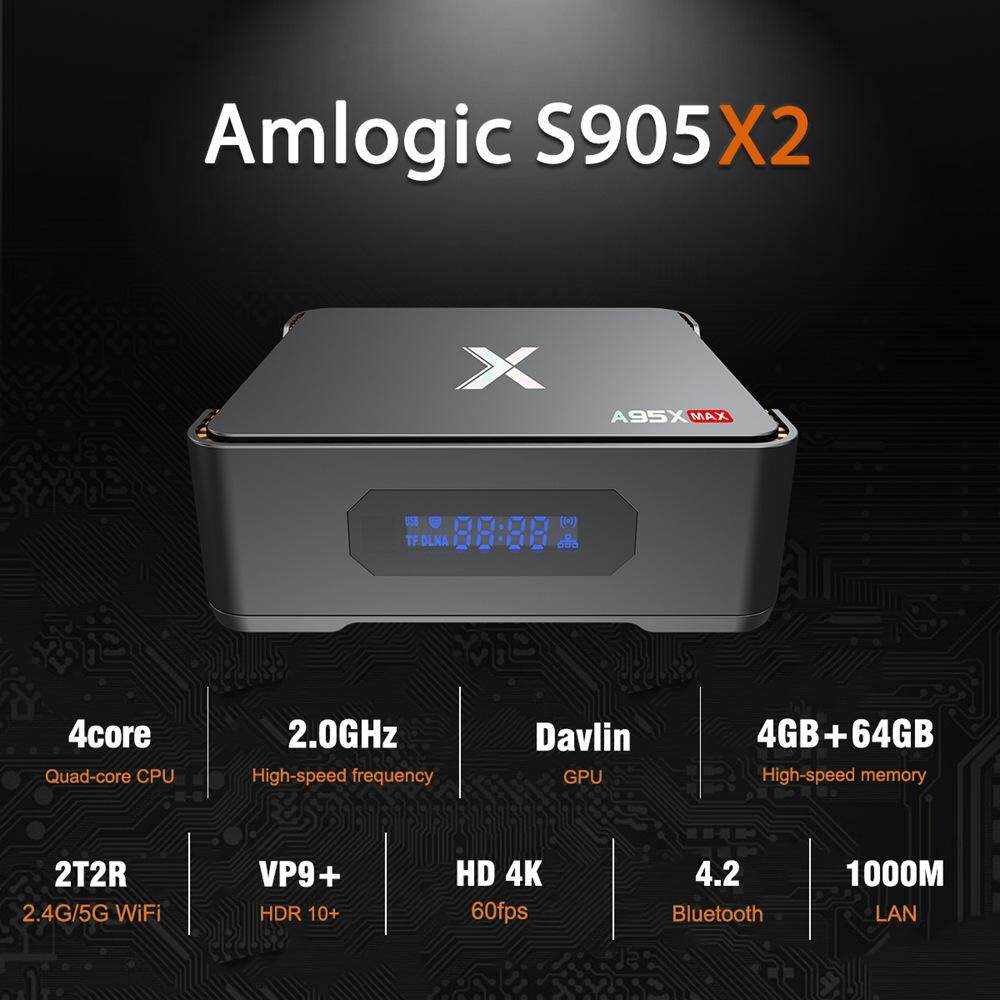 ยี่ห้อไหนดี  สกลนคร Android TV Box A95X MAX S905X2 4GB DDR4 64GB eMMC 4K Android 8.1  Support SATA 2.5 inch SSD/HDD Dual Band WiFi Bluetooth Gigabit LAN USB3.0 4 Video Recording with LED Display
