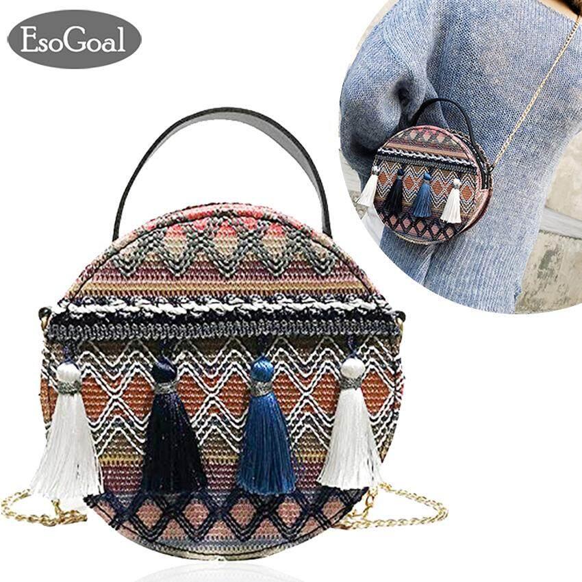 กระเป๋าเป้ นักเรียน ผู้หญิง วัยรุ่น นนทบุรี EsoGoal ผู้หญิงอินซูเปอร์ไฟแห่งชาติลมโซ่แบบพกพากระเป๋ากลมเล็กพู่แพ็คเก็ต Round Tassel Sling Bag National Wind Portable Chain Handbag Fashion Versatile Bags Korean Bag Retro Hand Woven Bag 2019