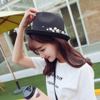 หมวกแฟชั่น หมวกมีปีก หมวกไปทะเล รุ่น 0001 สีดำ