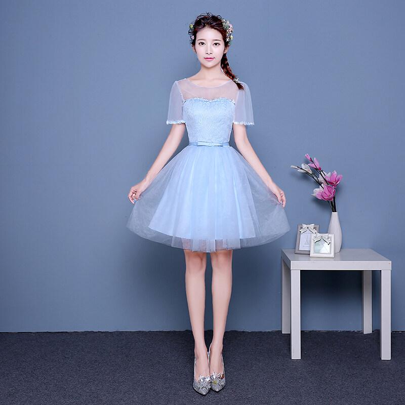 ขาย สง่างามชุดราตรีหญิงที่จัดเลี้ยงใหม่ชุดสีชมพู (03 สีฟ้า A รุ่นย่อหน้าสั้นๆ)