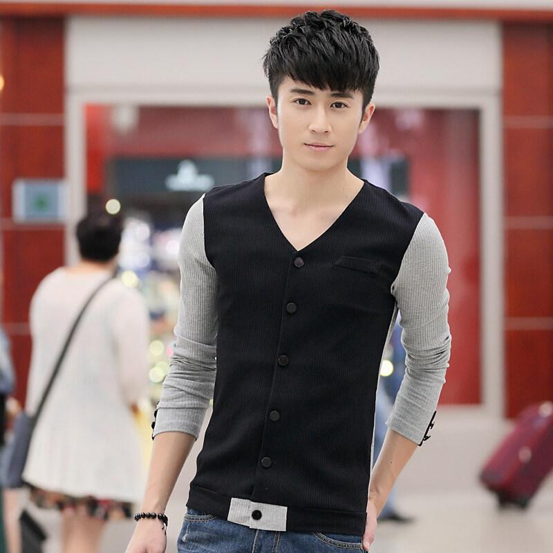 บุคลิกภาพสลิมสะกดสีแขนสั้นชายเสื้อเกาหลีเสื้อคาร์ดิแกน (043 สีดำ)