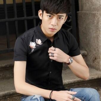 สบายๆวัยรุ่นเสื้อสีทึบเสื้อเชิ้ต (056 สีดำ)