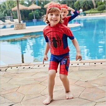 ชุดว่ายน้ำ เด็กผู้ชาย 1-10 ปี Spiderman เซ็ต 3 ชิ้น เสื้อแขนสั้น+กางเกงขาสั้น+หมวก ไซต์ M-XXL # B5810