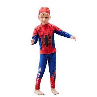 ชุดว่ายน้ำ เด็กผู้ชาย 1-10 ปี Spiderman เซ็ต 3 ชิ้น เสื้อแขนยาว+กางเกงขายาว+หมวก ไซต์ M-XXL # B5881