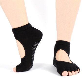 1คู่ของหญิงสาวดิ้นหายใจป้องกันการลื่นไม่มีกีบเท้าเปิดกีฬาออกกำลังกายโยคะบริการถุงเท้าสีดำ