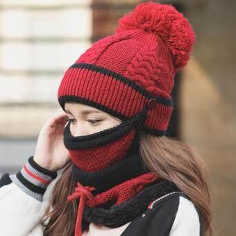 หมวกกันหนาวบุขนนุ่มด้านใน + ผ้าปิดจมูก + ผ้าพันคอ (1 ชุดมี 3 ชิ้น) HA07
