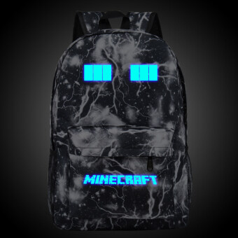 18.5inch Minecraft Logo Balck Lightning Teenagers Backpacks Night-luminous Travel Bags School Bag Shoulder Bags Gift for Boys Girls - intl""