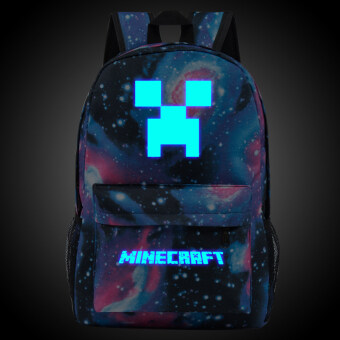 18.5inch Star Minecraft Logo Teenagers Backpacks Night-luminousBarcelona Travel Bags School Bag Shoulder Bags Gift for Boys Girls- intl