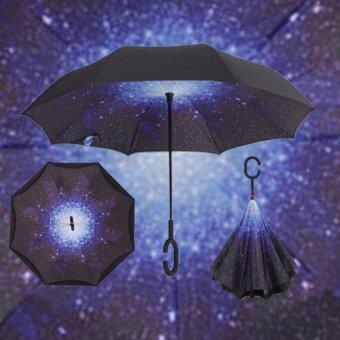 ร่มกลับด้าน ร่มหุบกลับด้าน 2 ชั้น มือด้ามจับตัว C Reverse Umbrella (starry sky)