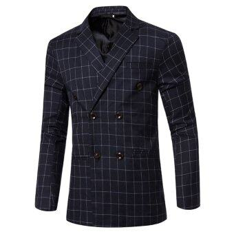 2016 Autumn and Winter Men's Plaid Double-breasted Blazer - Intl