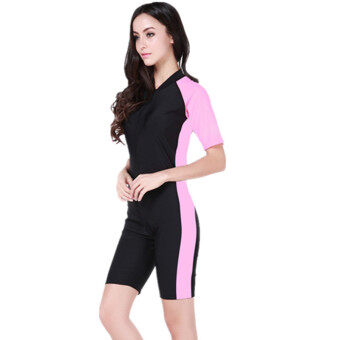 2017 Lovers One-piece swimming suit Floatsuit Diving suit SURFING SUIT Wetsuit One-piece bathing suit Equipment Short sleeve Swimsuits (Black and Pink)
