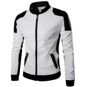 Harga 2016 Men Fashion Slim Leather Jacket Motorcycle Leather Zipper CoatStitching Leather Clothing for Men (White) - intl