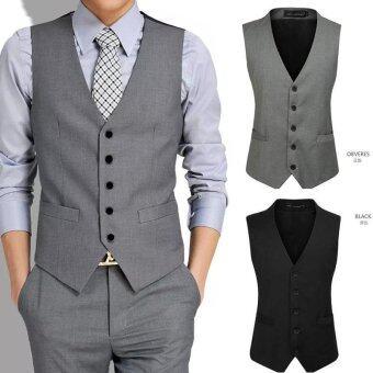 2016 Mens Suit Vest V Slim Suit Collar(Grey) - intl