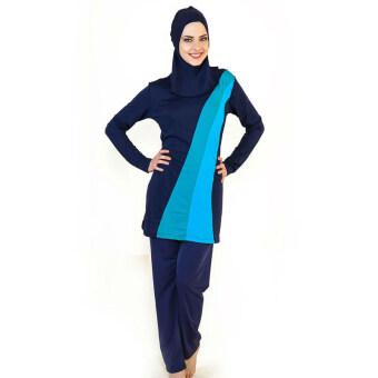 อิสลามมุสลิม 2559 สุภาพสตรีชุดว่ายน้ำชุดว่ายน้ำชุดว่ายน้ำแบบผู้ใหญ่ฮิญาบข่าวกีฬาชายหาดสระว่ายน้ำชุดว่ายน้ำชุดว่ายน้ำเสื้อผ้ามุสลิมสีดำ+สีน้ำเงิน