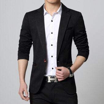 2016 Spring Autumn Men Jacket Male Casual Blazer Coat Slim fit Suit Black