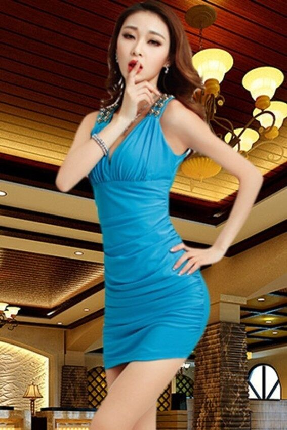 2017 Autumn and winter Sexy Nightclub Fashion temperament Women's Low-cut Crossover v-neck Cherrykeke Dress (Light blue)